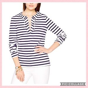 Kate Spade New York Striped Lace Up Sweater